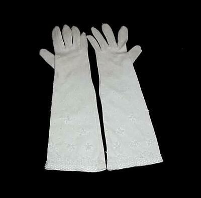 Vintage Pair Of White Beaded Evening Opera Gloves British Colony Hong Kong