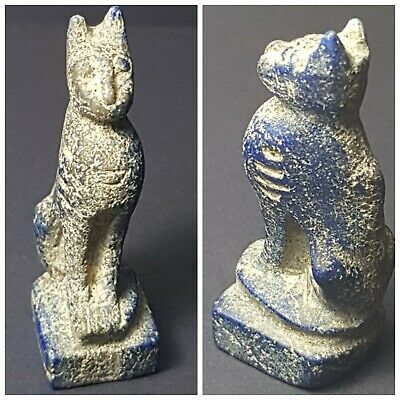 Egyptian very old late century lapiz lazuli cat statue
