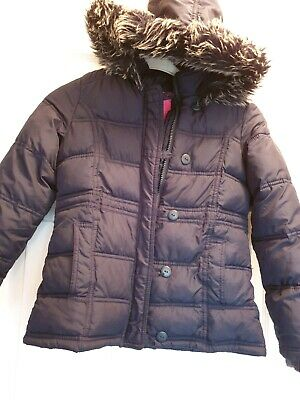 Excellent Condition Marks And Spencer's Girls Navy Quilted Winter Coat Age...