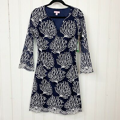 Women Lilly Pulitzer Navy Blue Seaside Coral Wendy Dress Size 10