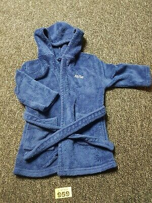 Boys Blue Personalised Dressing Gown Age 12 To 18 Months Name Alfie
