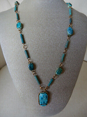 """Vintage Gold-Tone Egyptian Faience Scarab Bead Necklace 30"""""""