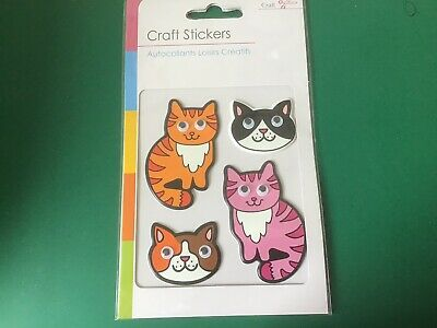 CRAFT STICKERS IN CATS FACES /BODIESvWith Wobbly Eyes New