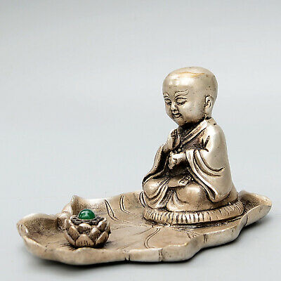 Collection China Old Miao Silver Mosaic Jade Hand-Carved Lotus Young Monk Statue