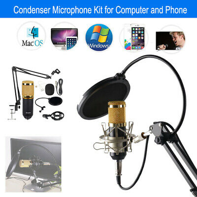 BM-800 Studio Wired USB Condenser Microphone Tool Kit For Computer Phone iphone