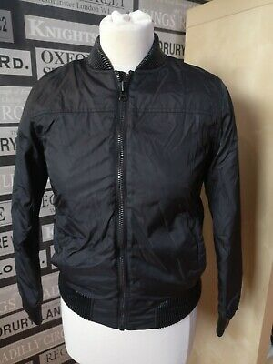 Next Black Boys Quilted Bomber Jacket - Age 11 Years faux leather cuffs