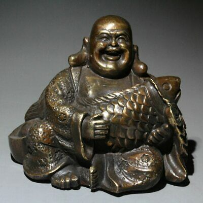 Collection Antique China Handwork Copper Carved  Buddha Embraced Fish Old Statue