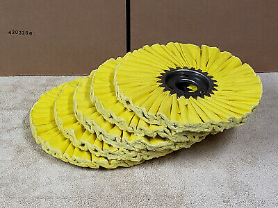 """Matchless 10"""" Yellow Mill Treated Airway Buff Buffing Wheel 3"""" Center 5 pcs"""