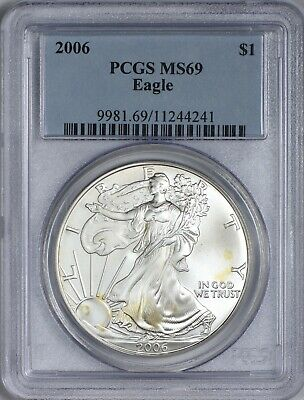 2006 American Silver Eagle PCGS MS69 - Areas of Light Gold Toning