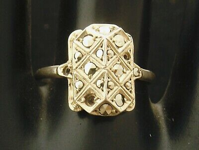Sterling Silver Ring pretty art deco design marcasites  size Q stones missing