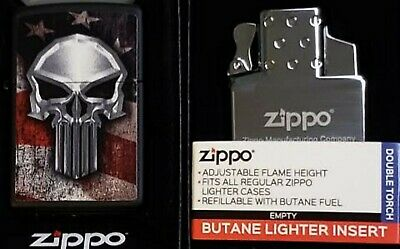 Zippo Torch American Flag Punisher Skull Limited Edition Butane Insert Double