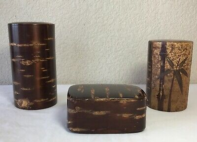 S# Japanese Lacquered cherry bark tea caddy wooden natsume
