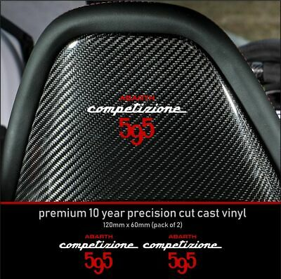 ABARTH COMPETIZIONE 595 SEAT 10 Year Cast Vinyl Decals Stickers x 2