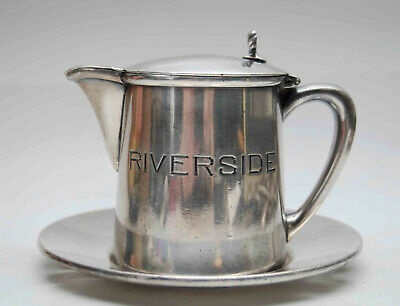 Antique Riverside Inn Hotel Creamer Syrup Pitcher Underplate Barbour Silverplate