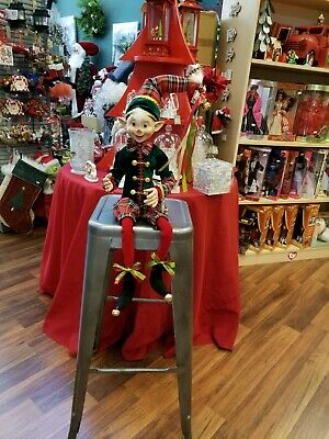 """Raz Imports Inc. 30"""" Posable Elf # 3802259 New Condition Red, Green, And Gold"""