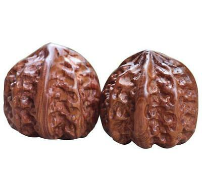 pair Natural Yellow rose wood hand-made walnut statue antique hand pieces /Za02