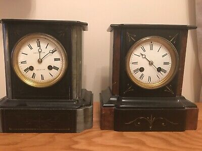 A Pair Of Antique French Black Slate With Metal Mounts Mantel Clocks For Tlc