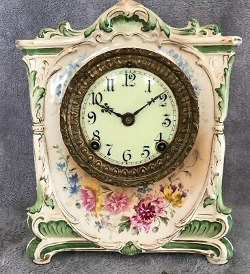 Antique Ansonia Porcelain Royal Bonn Mantle Clock June 1882 Works & with Key