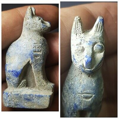 Egyptian wonderful old lapiz lazuli cat statue