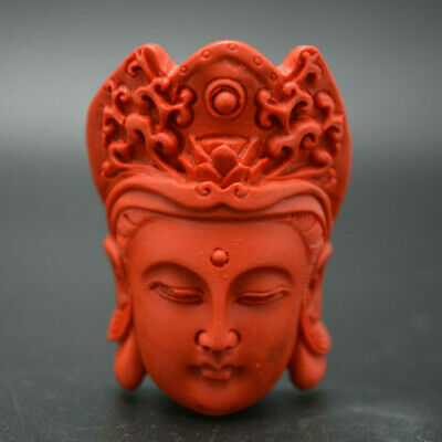 Red Cinnabar Carved Guanyin Buddha Head Buddhist Stone Pendant DIY Necklace