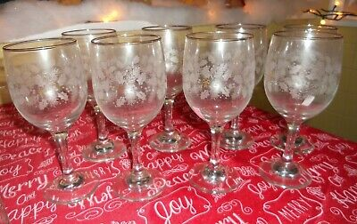8 Vintage White Holly Frosted gold ribbon Holiday wine glasses