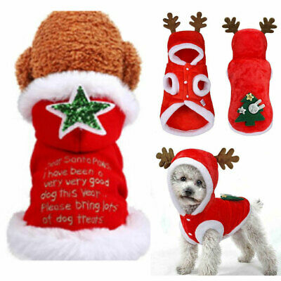 Pet Cat Dog Christmas Outfit Costumes Sweater Hoodie Dress Xmas Clothes Coat