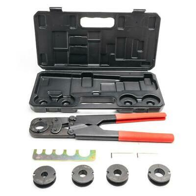 "16"" Manual PEX Crimper Pipe Crimping Plumbing Tool Kit + 5 Jaws + Plastic Case"