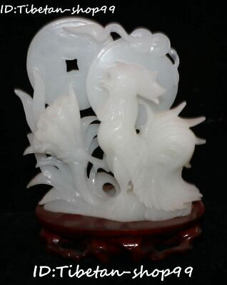 """11"""" Natural White Jade Carving Zodiac Rooster Cock Chicken Wealth Animal Statue"""
