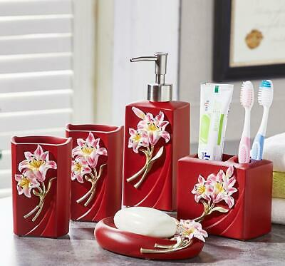 NEW Red 5PCS Bath Accessory Set Cup Toothbrush Holder Soap Dish Tumbler,Resin