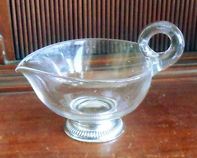 Vintage Frank Whiting Sterling Silver and Blown Glass Heart Shaped Creamer