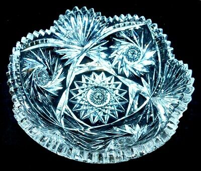 "Antique Pitkin & Brooks Cut Glass Bowl, ""Myrtle"", Brilliant Period, Vg Cond"