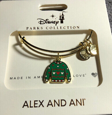 Disney Parks Alex And Ani Mickey Icon Ugly Christmas Sweater Gold Bracelet