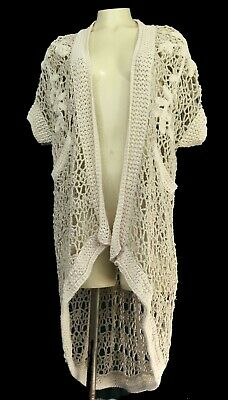 Womens ANGEL OF THE NORTH Crochet Knit Open Cardigan Sweater Size Small