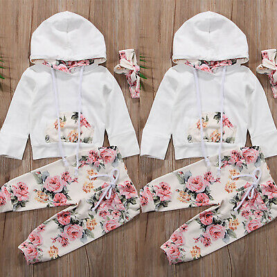 3PCS Toddler Kid Baby Girl Floral Outfits Clothes Hoodies Top + Pants + Headband
