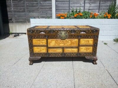 Antique Chinese Hand Carved Camphor Chest Trunk