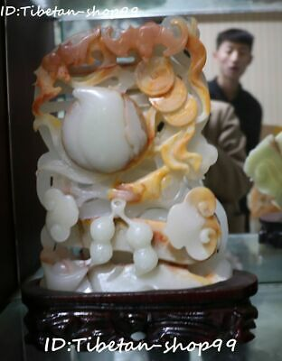 "12"" Natural Jade Hand Carved Fengshui Bat Peach Bottle Gourd Wishful Ruyi Statue"