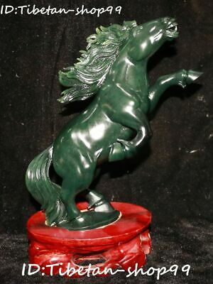 Natural Green Jade Jasper Fengshui Running Horse Horses Success Animal Statue