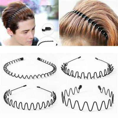 Unisex Sports Black Iron Wire Hairband Headband Wave Style Hair Band Accessories