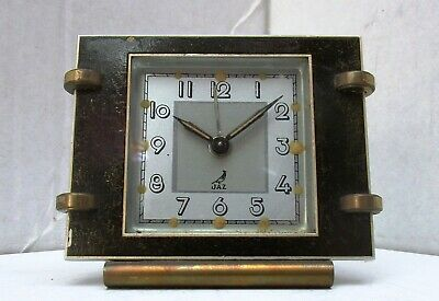 Lovely Little Art Deco Dark Brown Enamel Brass Alarm Clock from JAZ