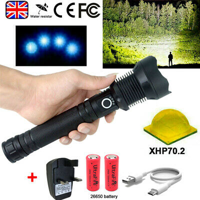 900000 Lumen XHP70 LED Ultra Bright 26650 Powerful Flashlight Torch Rechargeable