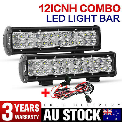 Pair 12inch Cree LED Light Bar Flood Spot Combo Work Lamp 4WD Truck SUV +Wire