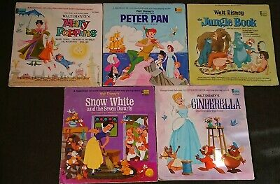 5 Vintage 1960's Walt Disney's The Story And The Songs LP RECORDS-Mary Poppins