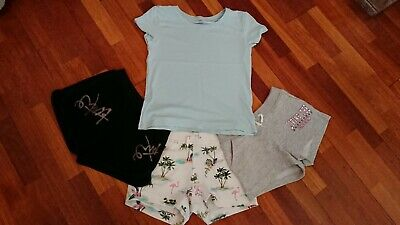 3 pairs of girls shorts age 12-13 and a tshirt age 12-14 used various shops