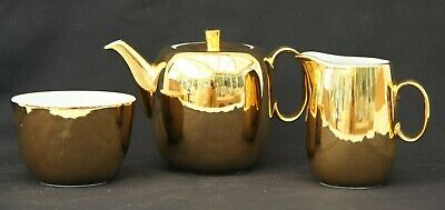 Stunning Vintage Royal Worcester Gold Colour Glaze Teapot, Milk Jug & Sugar Bowl