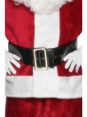 Smiffys Santa Father Christmas Black Belt With Large Gold Buckle