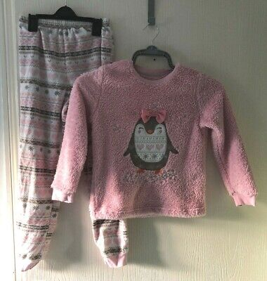 Girls Pyjamas Set Age 8 9 Years. Pink Patterned. Winter. 2 Piece Set. By George