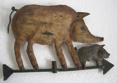 Vintage old iron pig trade sign store display butcher's sign advertisement