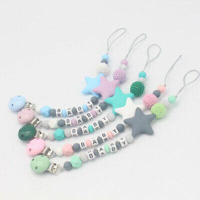 2X(Baby Pacifier Clip Chain Cute Five Star Silicone Beads Teething Pacifier G5O6