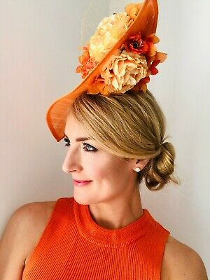 Handmade Statement Large Teardrop Floral Fascinator Orange Wedding Ascot