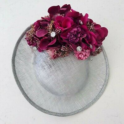Handmade Statement Large Floral Saucer Side Hat Fascinator Silver Plum Purple